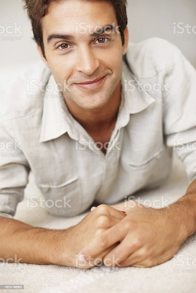Portrait of a young man smiling royalty-free stock photo