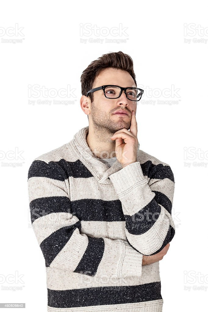 Portrait of a Young Man Thinking stock photo