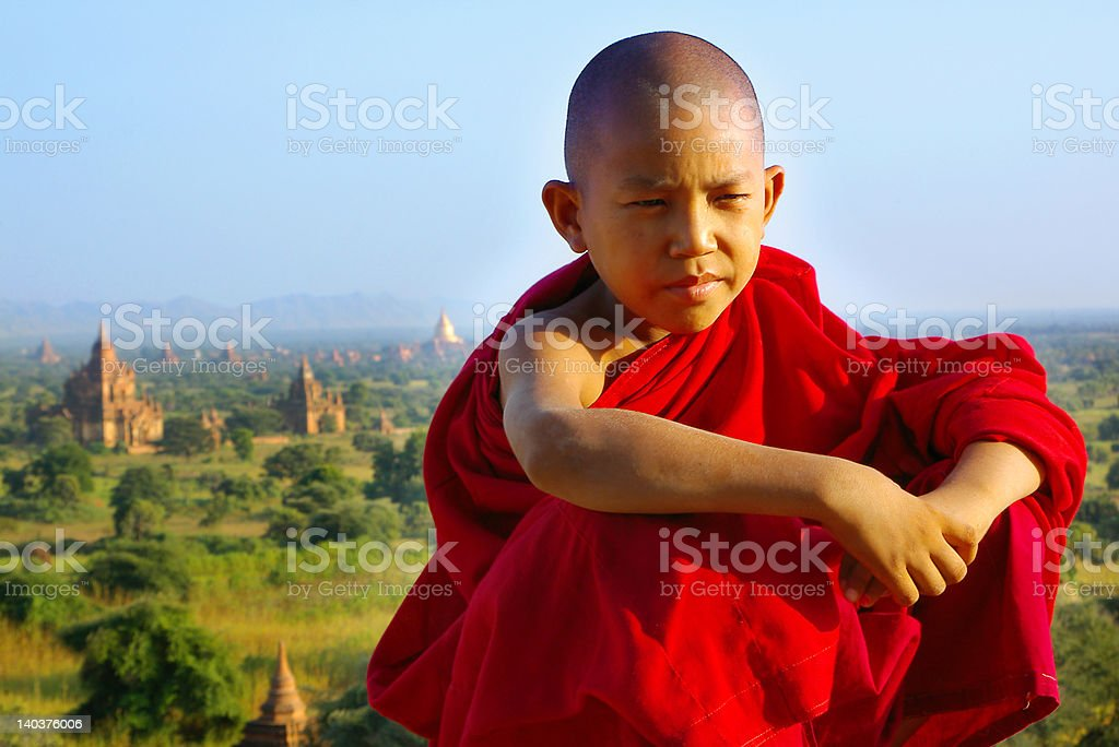 portrait of a young monk stock photo
