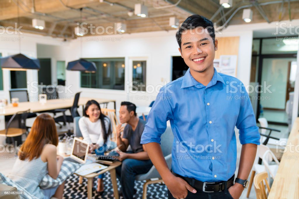 Portrait of a young office worker stock photo