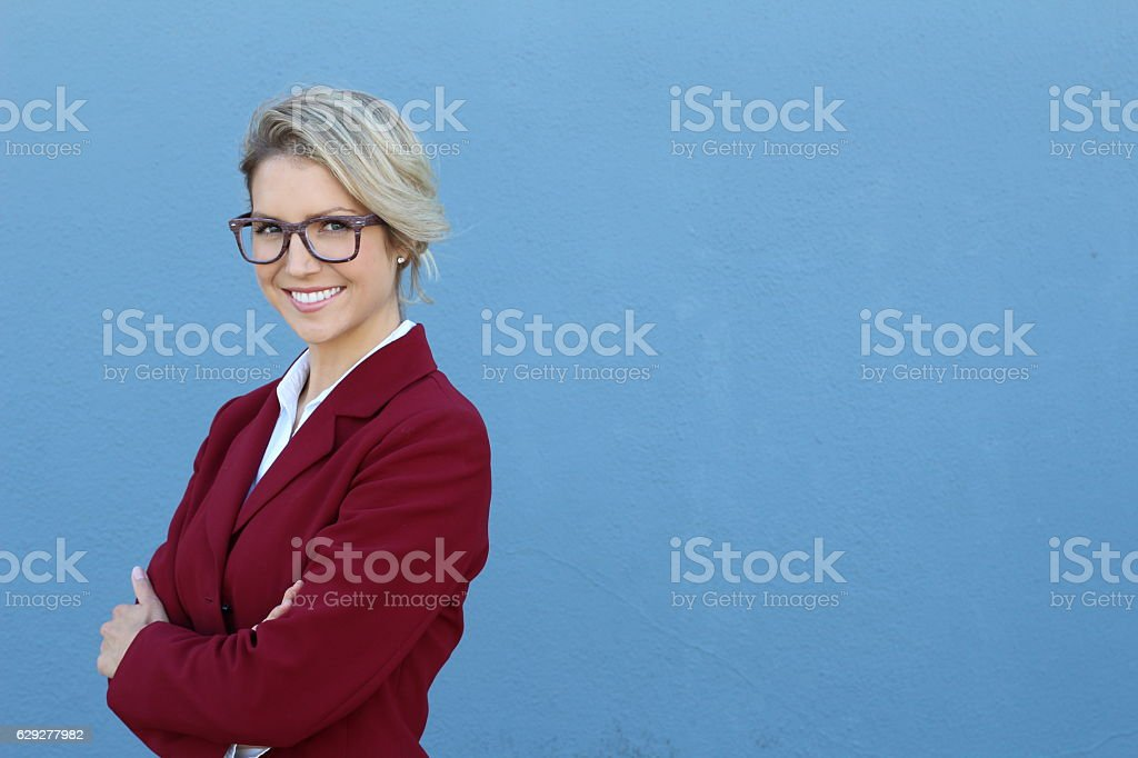Portrait of a young smiling businesswoman stock photo