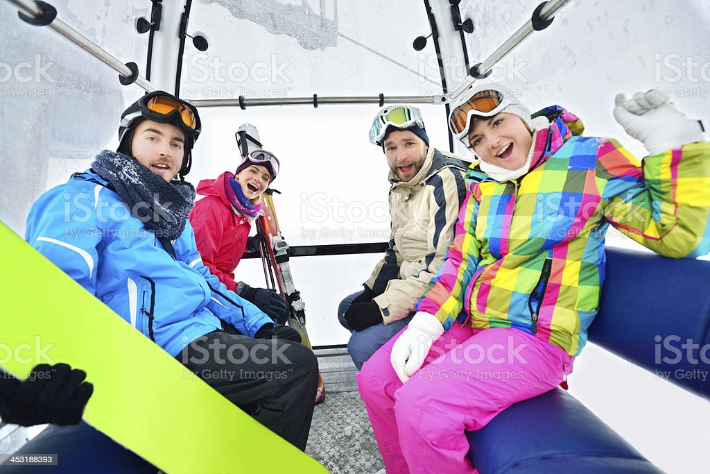 Portrait of a young snowboarding team stock photo
