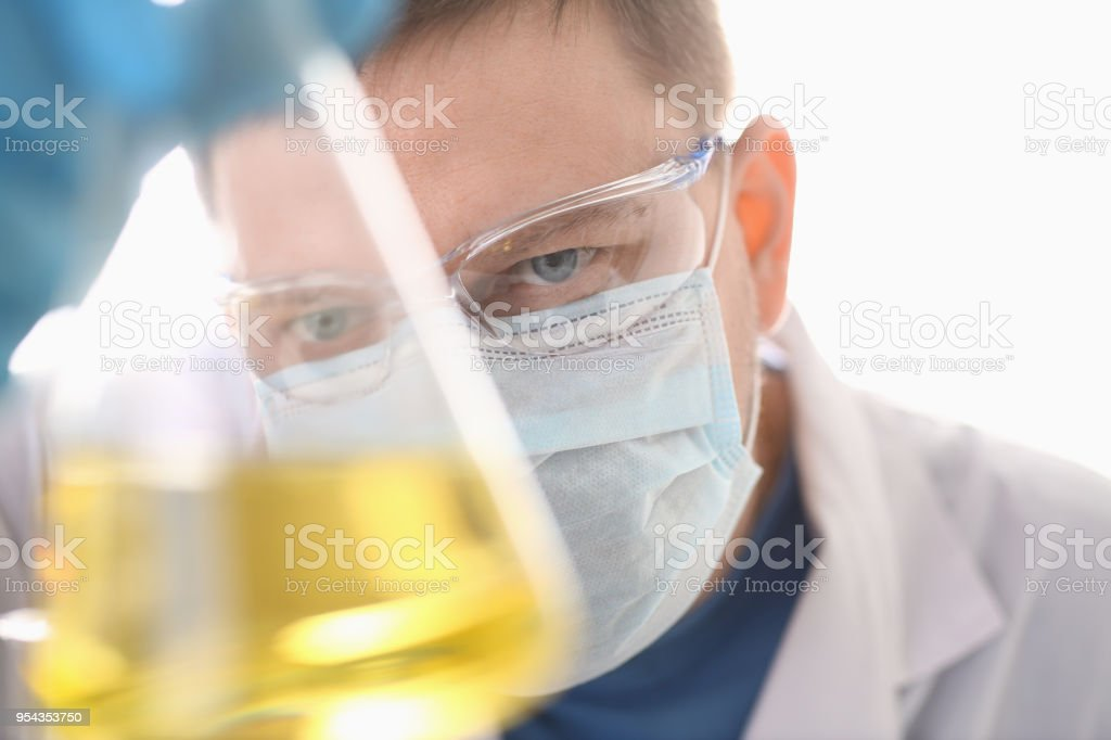 A portrait of a young surgeon chemist doctor stock photo