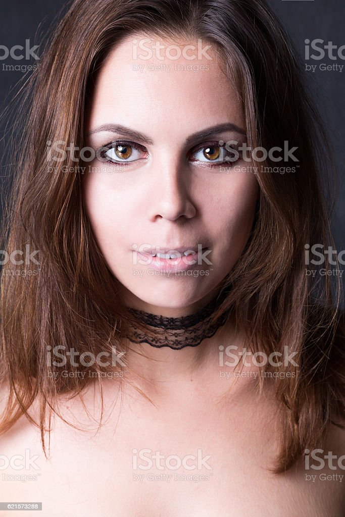 Portrait of a Young Woman. Black Background photo libre de droits