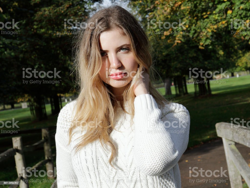 Portrait of a young woman Bulgarian outdoor girl stock photo