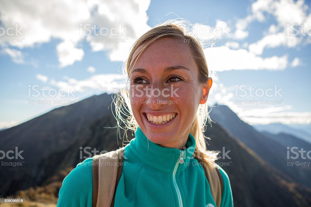 Portrait of a young woman hiking in Autumn stock photo