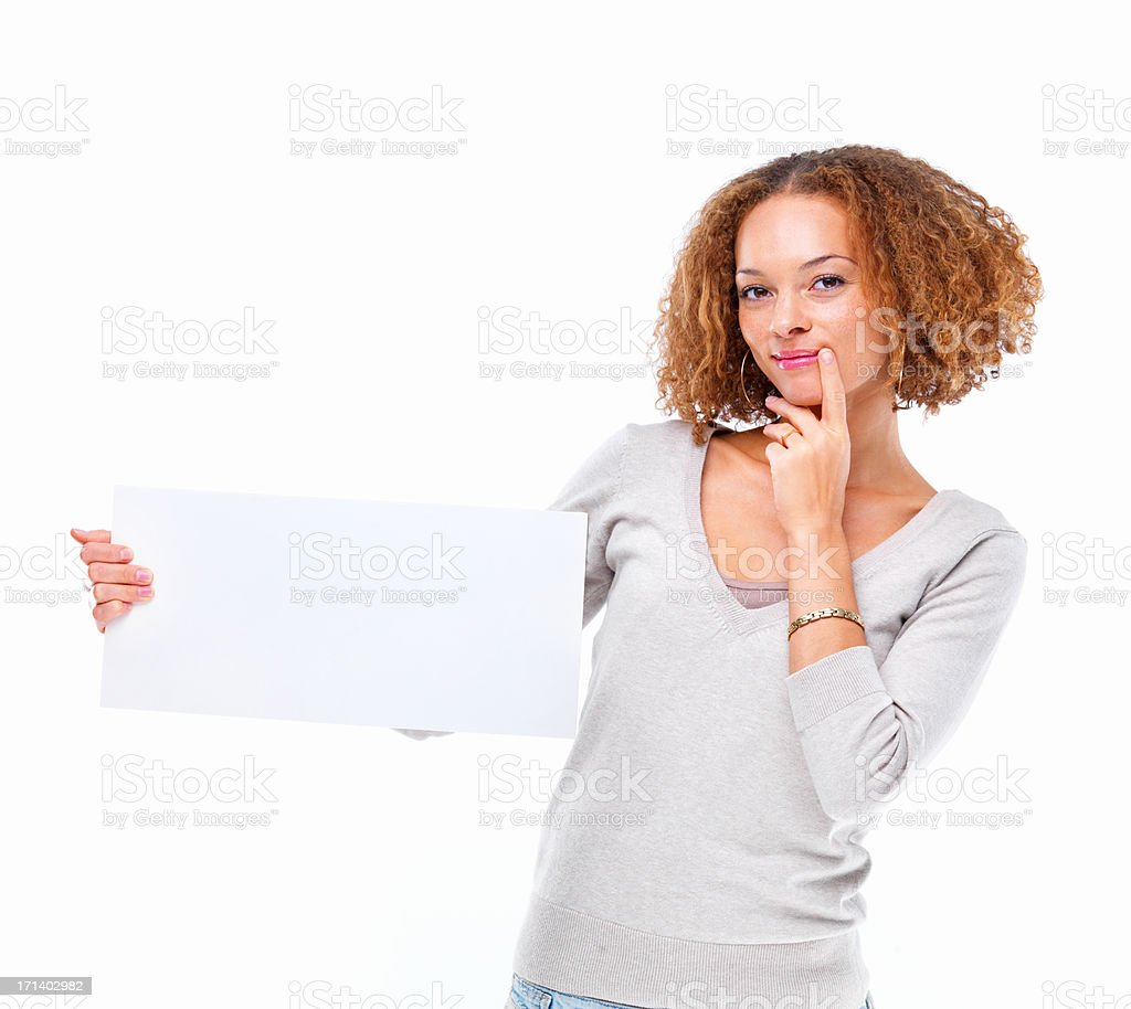 Portrait of a young woman holding a blank board isolated on white background stock photo