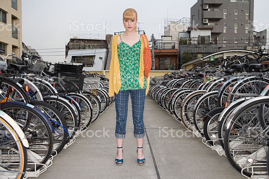 Portrait of a young woman in a bike park 免版稅 stock photo
