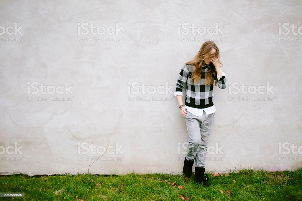 portrait of a young woman in environment stock photo
