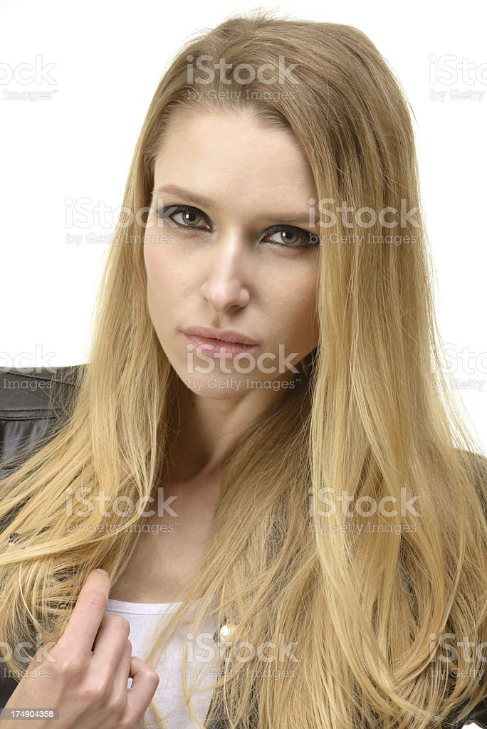Portrait of a young woman in leather jacket royalty-free stock photo