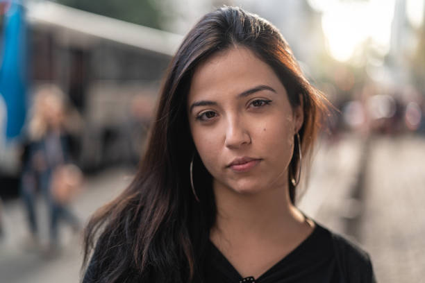 Portrait of a Young Woman in the city Real People spanish and portuguese ethnicity stock pictures, royalty-free photos & images