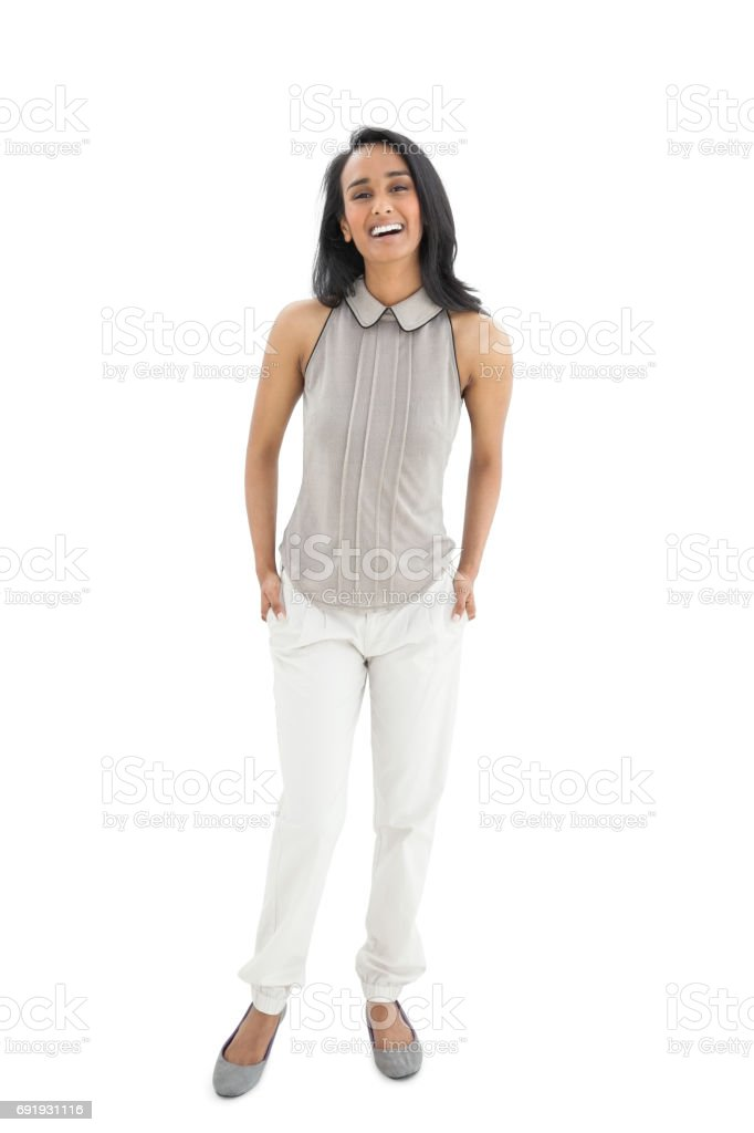 Portrait of a young woman laughing stock photo