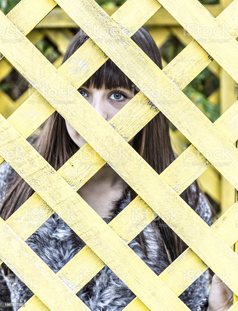Portrait of a young woman looking through lattice royalty-free stock photo