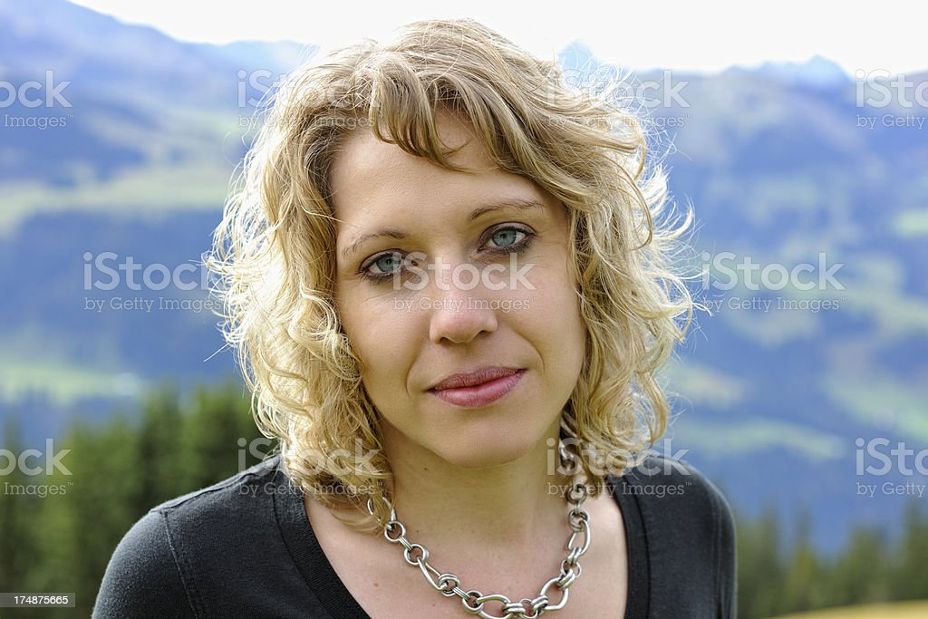 Portrait of a Young Woman Outdoor Switzerland royalty-free stock photo