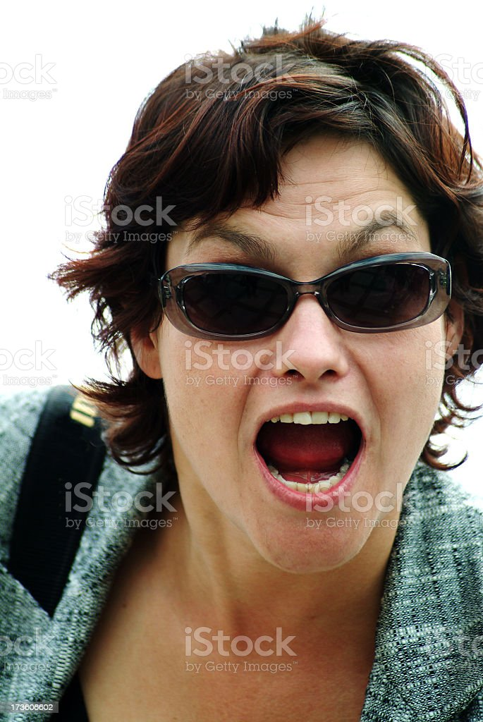 Portrait of a young woman shouting royalty-free stock photo