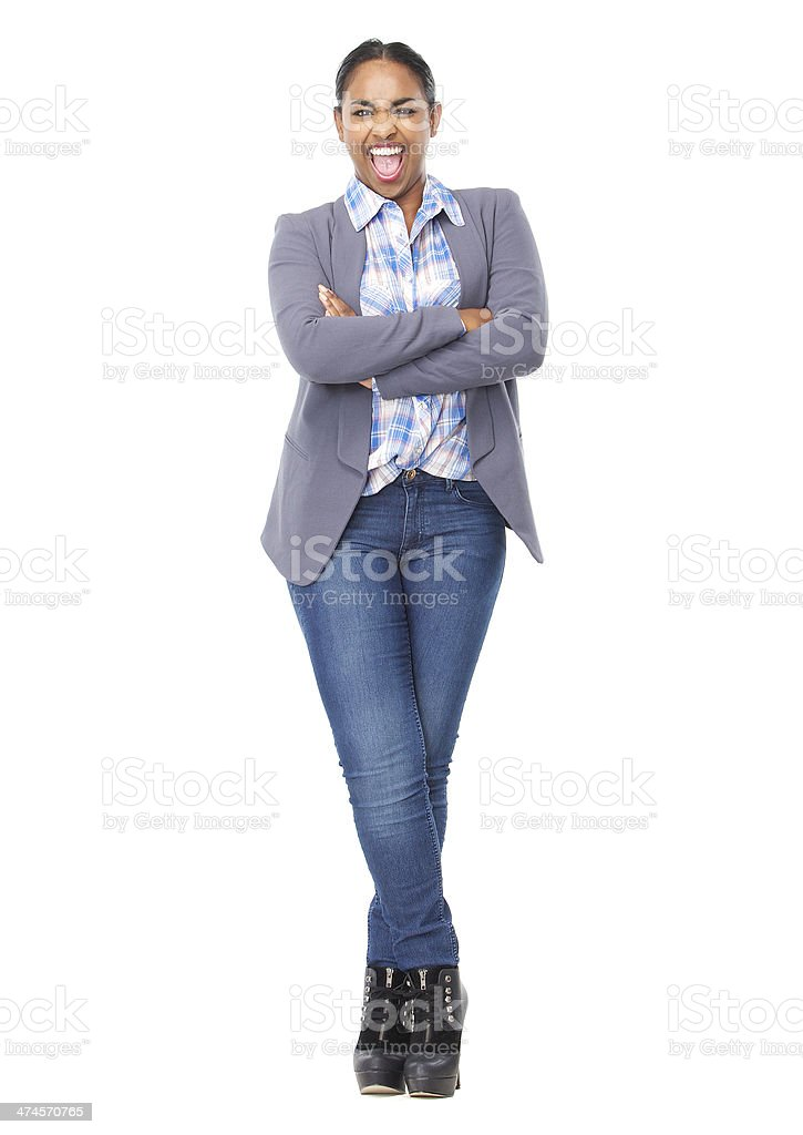 Portrait of a young woman shouting with mouth open stock photo