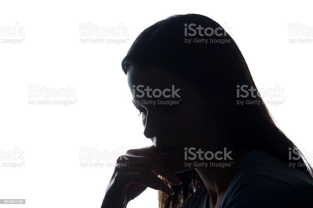 Portrait of a young woman, side view stock photo
