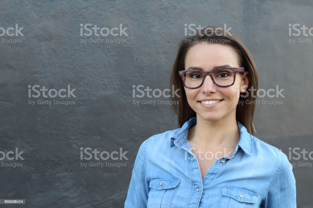 Portrait of a young woman smiling stock photo