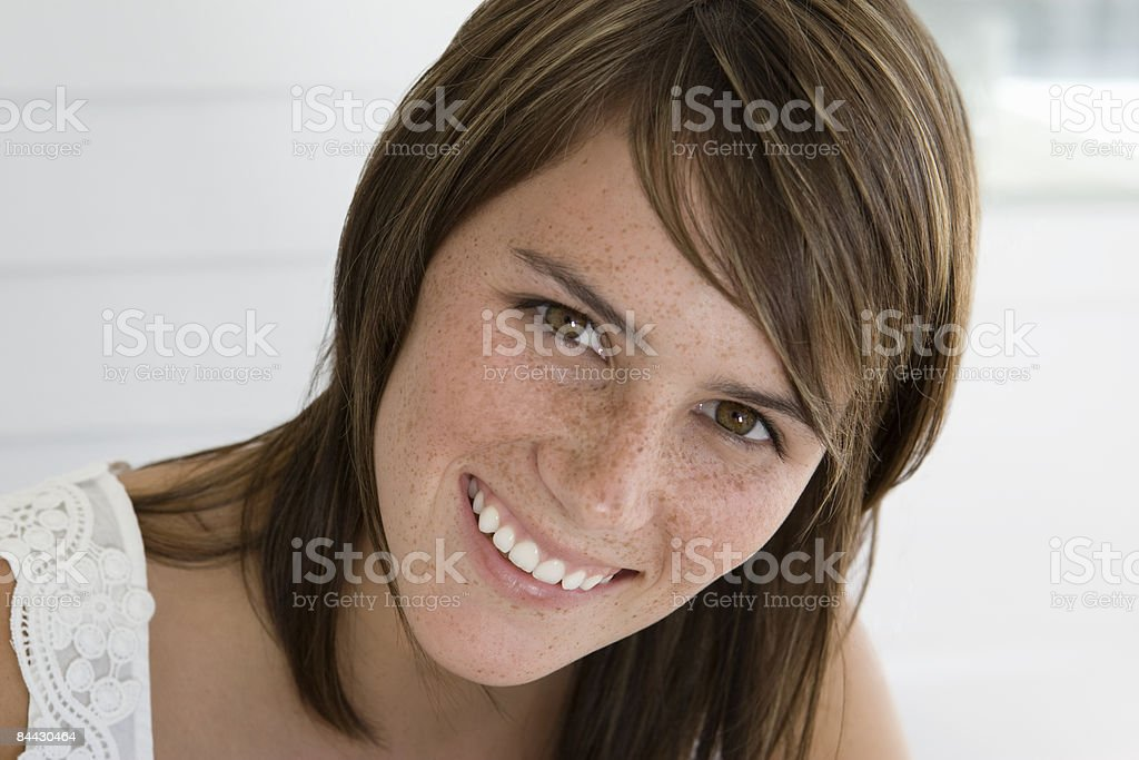 Portrait of a young woman smiling royalty-free stock photo