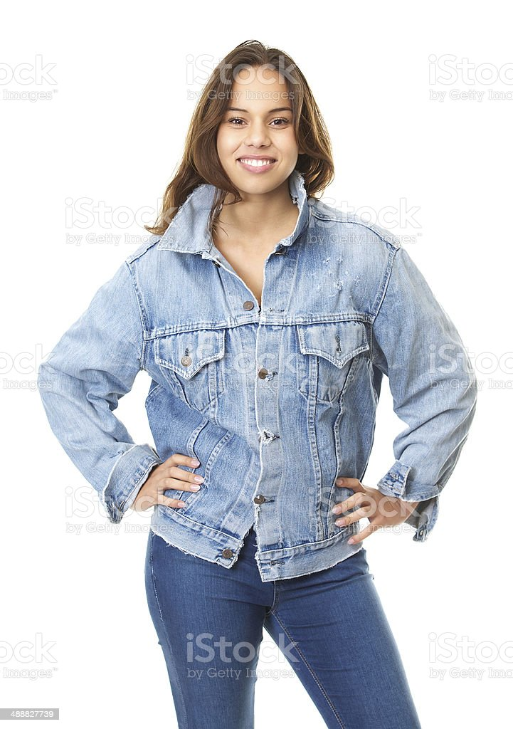 Portrait of a young woman smiling with blue jeans jacket stock photo