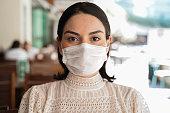 portrait, woman, restaurant, outdoor, face mask