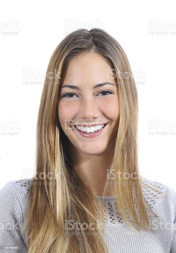 Portrait of a young woman with perfect smile stock photo