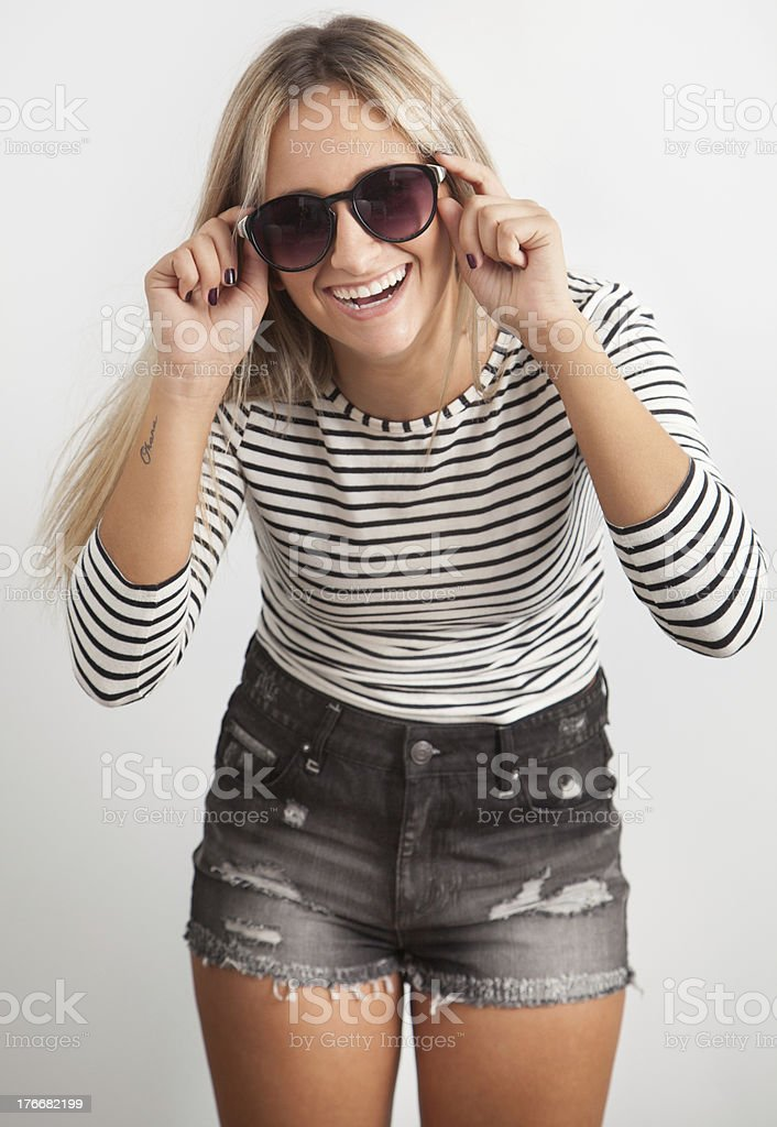 Portrait of a young woman with sunglasses royalty-free stock photo