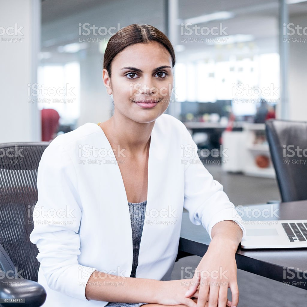 Portrait of Aboriginal Australian woman in office stock photo