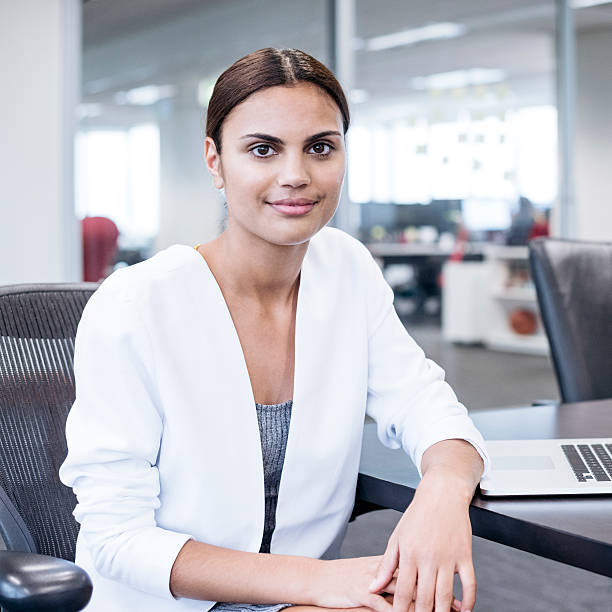 Portrait of Aboriginal Australian woman in office stock photo