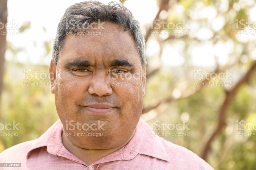 Portrait of Aboriginal man in his 50s facing camera stock photo