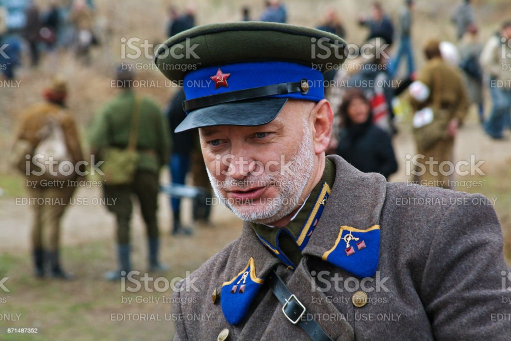 Portrait of actor dressed as Russian Soviet officer Of World War II in military-historical reconstruction in Volgograd. stock photo