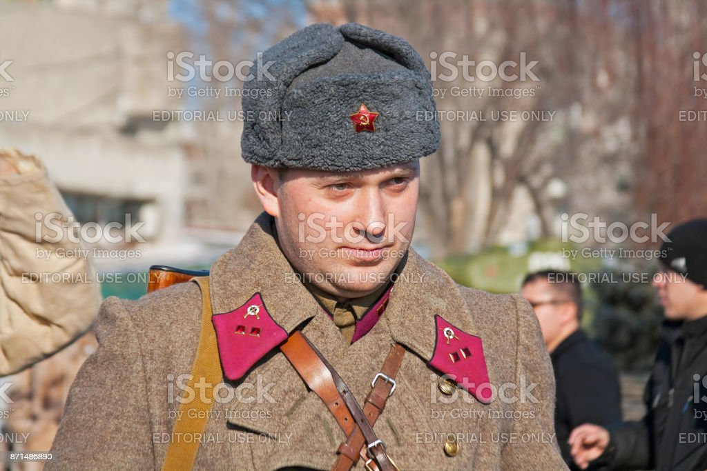 Portrait of actor dressed as Russian Soviet soldier of World War II in reconstruction of the capture of field Marshal Paulus in Volgograd stock photo