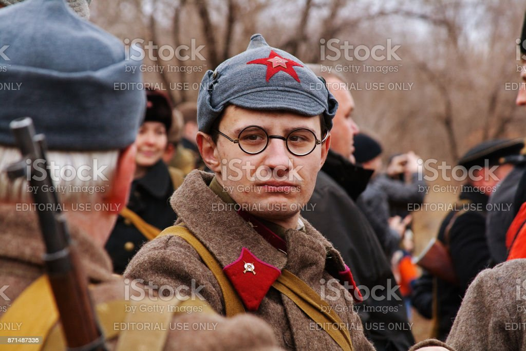 Portrait of actor dressed as Russian Soviet soldier of World War II in military-historical reconstruction in Volgograd. stock photo