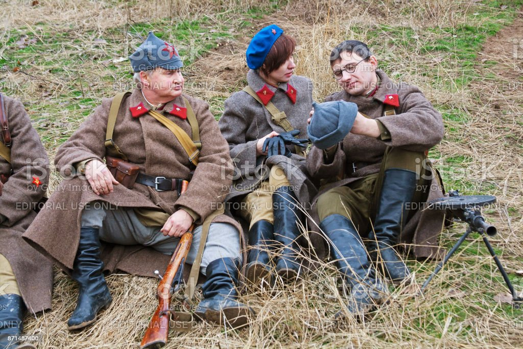 Portrait of actors dressed as Russian Soviet soldier of World War II in military-historical reconstruction in Volgograd. stock photo