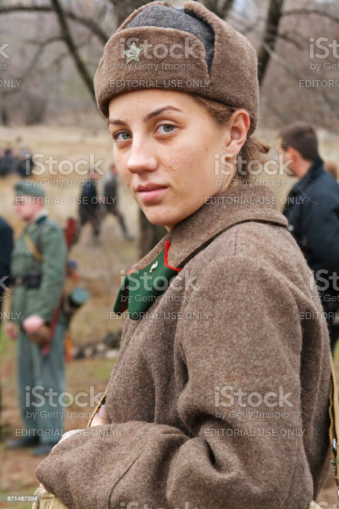 Portrait of actress dressed as Russian Soviet soldier of World War II in military-historical reconstruction in Volgograd. stock photo