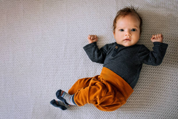 Portrait of adorable baby boy stock photo