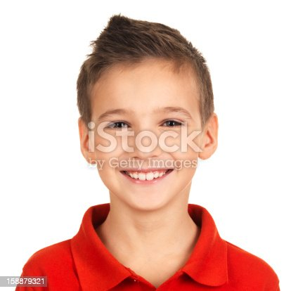 istock Portrait of adorable young happy boy 158879321