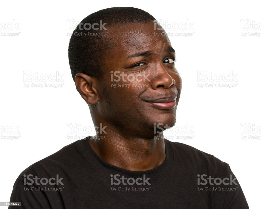 Portrait of adult male with questioning expression stock photo