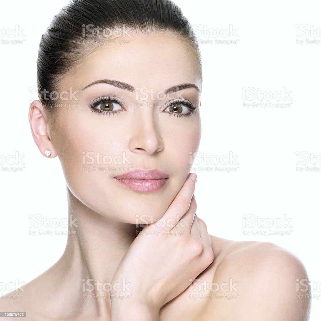 Portrait of adult woman's clear beautiful face stock photo