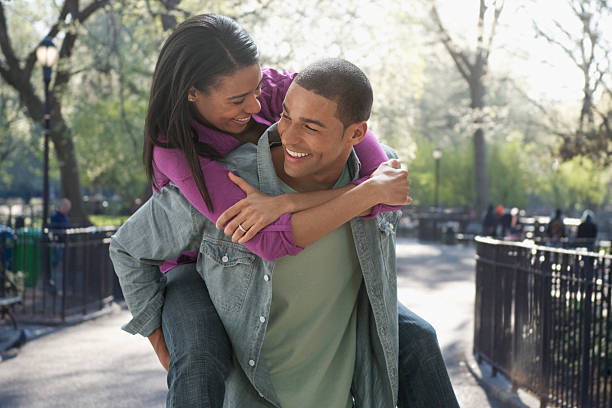 Portrait of affectionate young couple stock photo