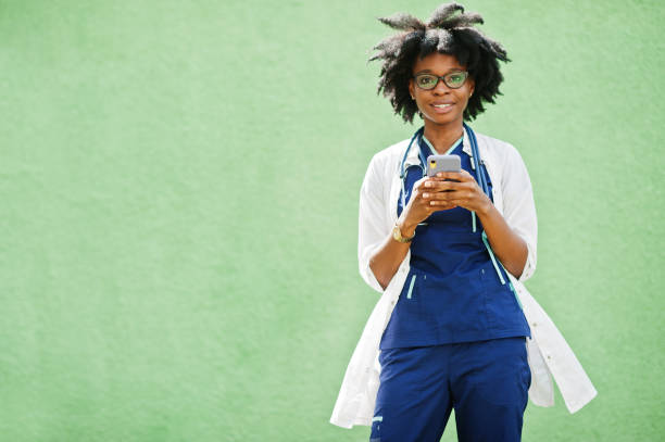 Portrait of African American female doctor stock photo