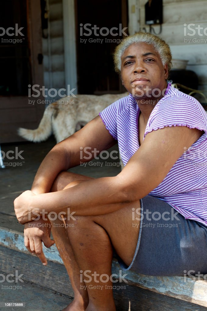 Portrait of African American Senior Woman on Porch royalty-free stock photo