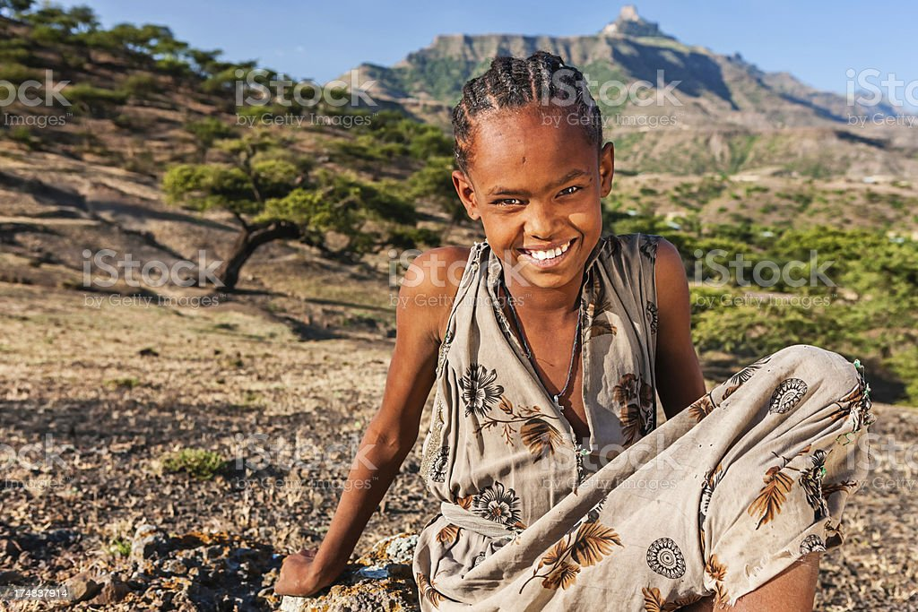 Portrait of  African girl, East Africa stock photo