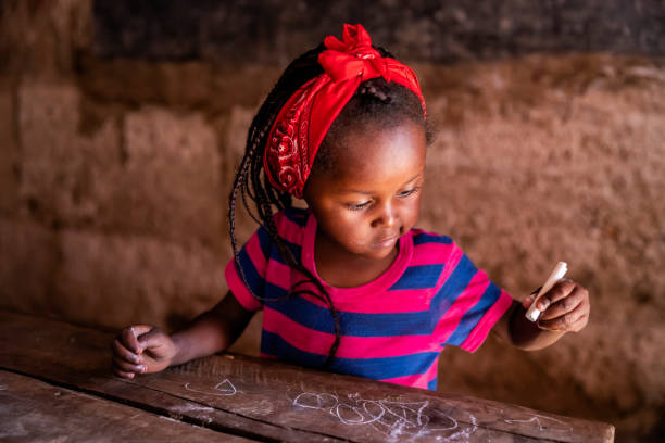 Portrait of African little girl, orphanage in Kenya, East Africa stock photo