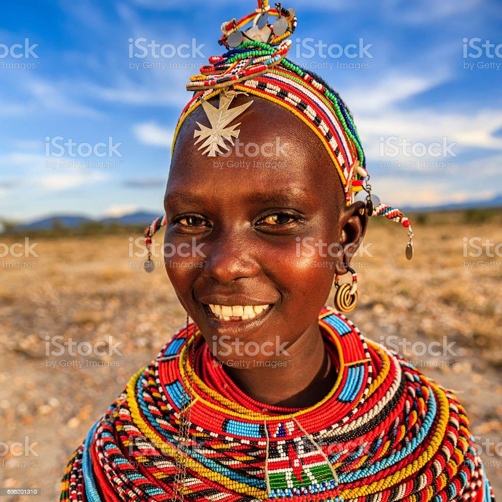 Porträt von afrikanische Frau von Samburu, Kenia, Afrika. – Foto