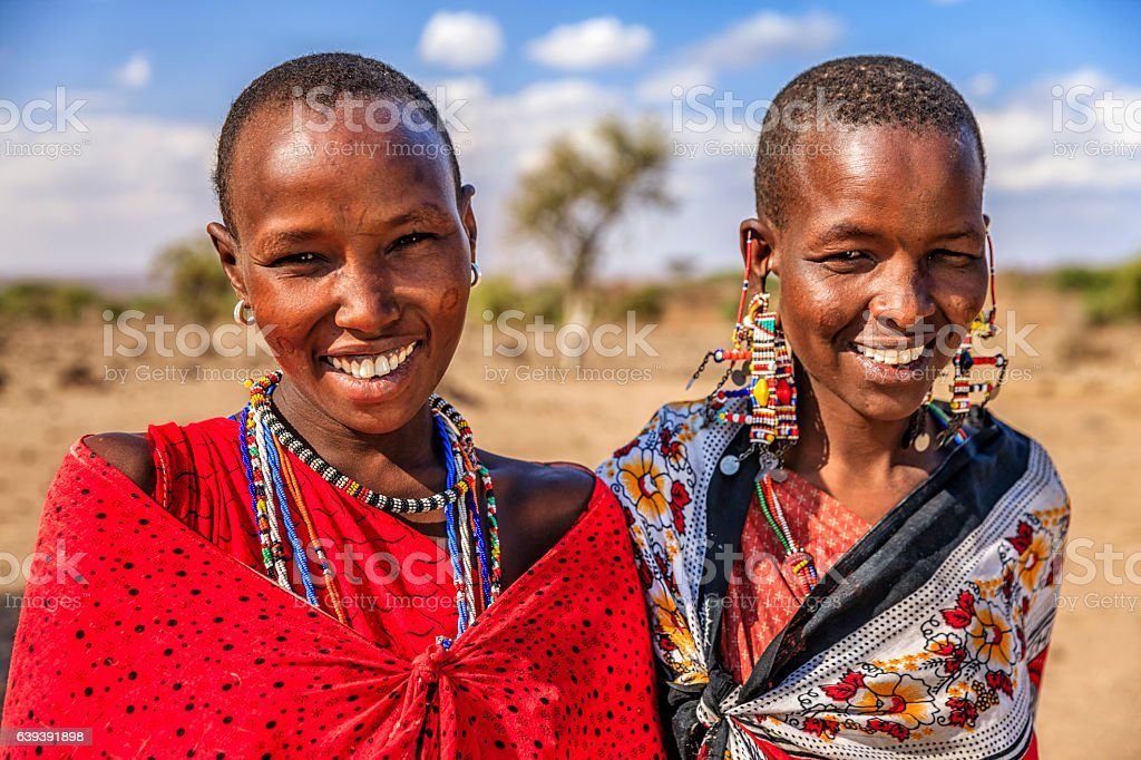Portrait of African women from Maasai tribe, Kenya, Africa stock photo