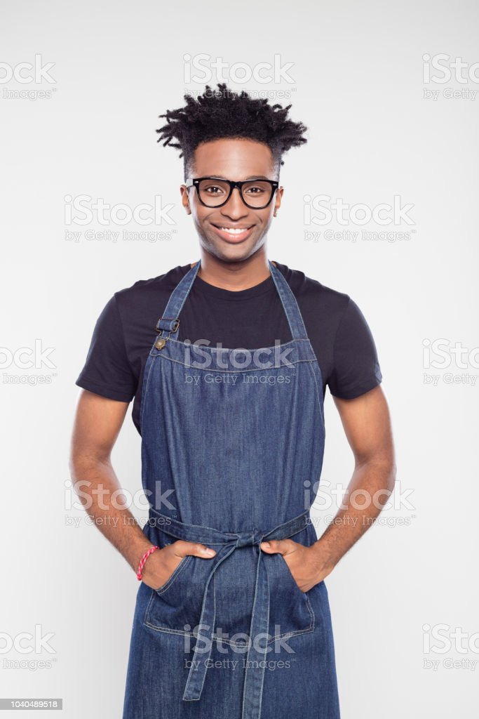 Portrait of afro american shop worker stock photo