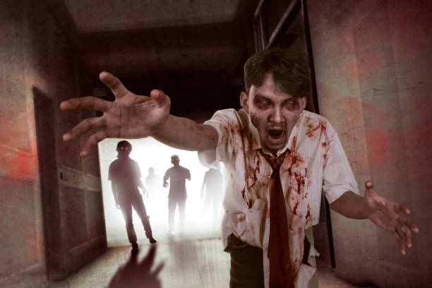 portrait of aggresive asian zombies walking out - zombie apocalypse stock photos and pictures