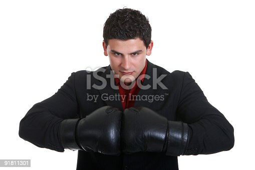istock Portrait of agressive businessman 91811301