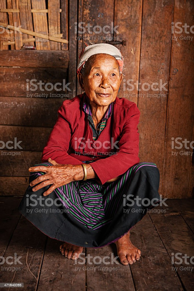 Portrait of Akha woman in Northern Laos royalty-free stock photo